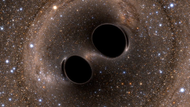 Gravitational Waves Detected  LIGO Opens New Window on the Universe with Observation of Gravitational Waves from Colliding Black Holes. IUCAA physicists make fundamental contributions in the discovery. [Image Credit: The SXS (Simulating eXtreme Spacetimes) Project]