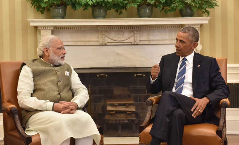 The Prime Minister, Shri Narendra Modi meeting the President of United States of America (USA), Mr. Barack Obama in Oval Office, at White House, in Washington DC, USA on June 07, 2016.
